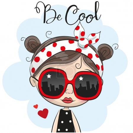 Illustration pour Portrait de mignonne fille de bande dessinée avec des lunettes de soleil - image libre de droit