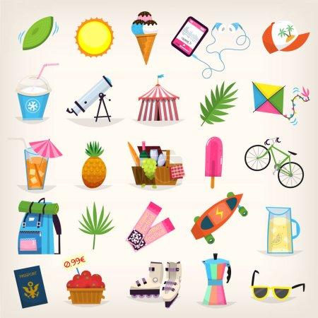 Summer symbols elements