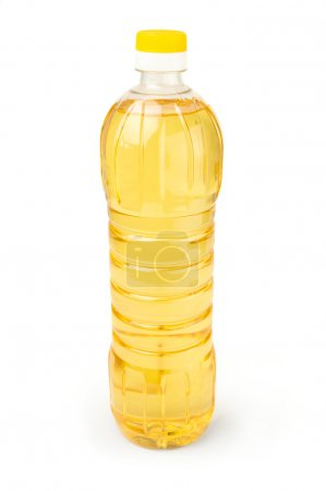 Vegetable or sunflower oil in plastic bottle