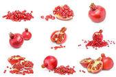 Kolekce granátových jablek izolovaných na bílém pozadí Vystřižení