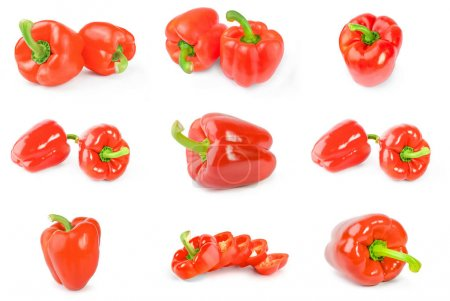 Collage of red sweet peppers isolated over a white background
