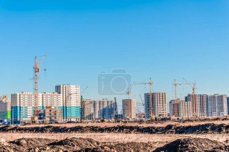 Huge crane and construction landscape