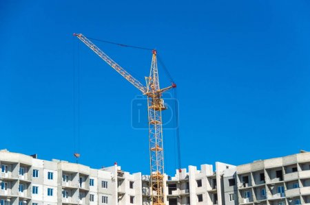 Tall cranes and building object