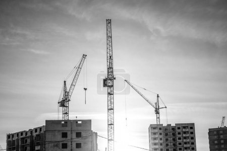 Powerful crane and new houses