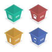 Set of container for garbage of different types Plastic glass paper and metal Isolated on white background vector illustration