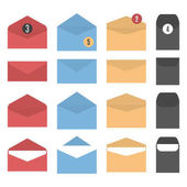 Set colored paper envelopes of different form and sizes open and closed isolated on white background vector illustration