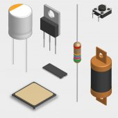 Set of different active and passive electronic components isolated on white background Resistor capacitor diode microcircuit fuse and button 3D isometric style vector illustration