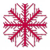 Pixel snowflake isolated on a white background Graphic material and design elements to decorate Christmas cards and posters Flat style vector illustration
