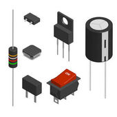 Set of different electronic components in 3D vector illustration