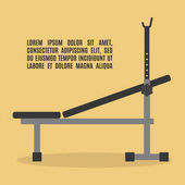 Barbell bench press in flat style vector illustration