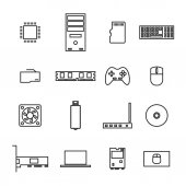 Set of icons computer devices and accessories of thin lines isolated on white background vector illustration