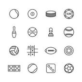 Game and sport icons of thin lines vector illustration
