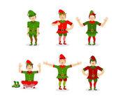 Elf Christmas set poses Various movements assistant of Santa Cl