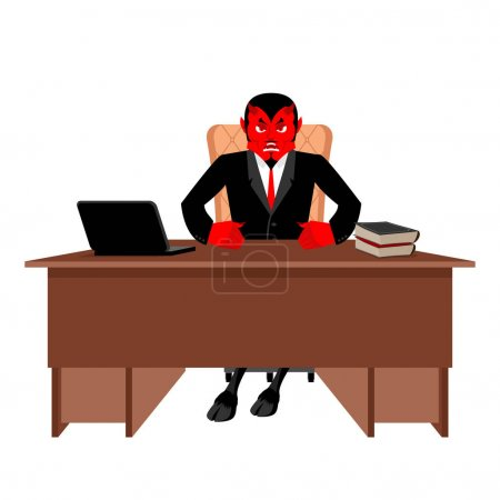Diablo boss sitting in office