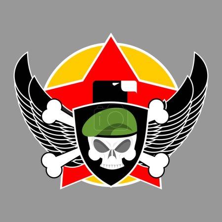 Illustration pour Emblème militaire. Logo de l'armée. Insigne de soldat. Crâne en béret. Ailes et armes. Aigle et fusils. Super signe pour les troupes. blazon commando - image libre de droit
