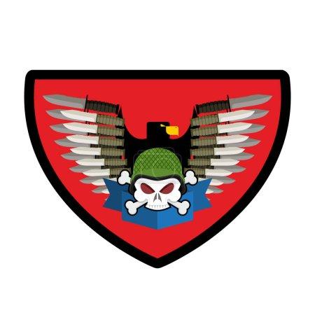 Illustration pour Logo de l'armée Crâne. Insigne de soldat. Emblème militaire. Ailes et armes. Aigle et fusils. Super signe pour les troupes. blazon commando - image libre de droit