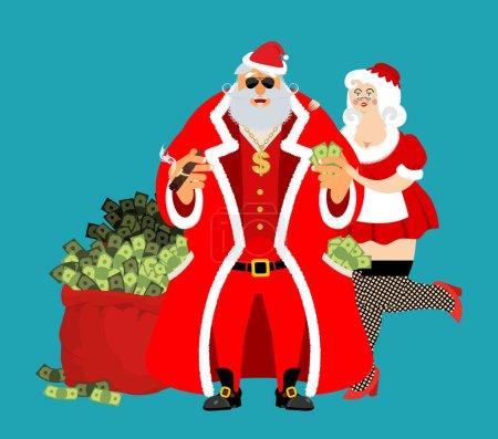 Illustration pour Cool Rich Santa et fille. Sac rouge avec de l'argent. Claus avec cigare après le travail se détendre. Une poche pleine d'argent. Gains pour Noël. Vieil homme coriace et Mme Noël. Gains de Noël. Nouvel An richesse de revenu. bien mérité. Dollar d'or sur chaîne - image libre de droit