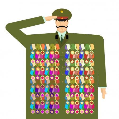 Illustration pour Officier russe et récompenses et médailles. Illustration pour le 23 février. Jour des Défenseurs de la Patrie. Célébration militaire traditionnelle à Russi - image libre de droit