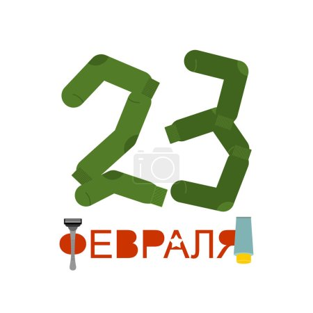 February 23 - text Russian. number from socks. Sock and razor-tr