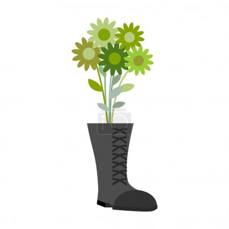 Soldiers shoes and bouquet of military greens flower. Gift for m