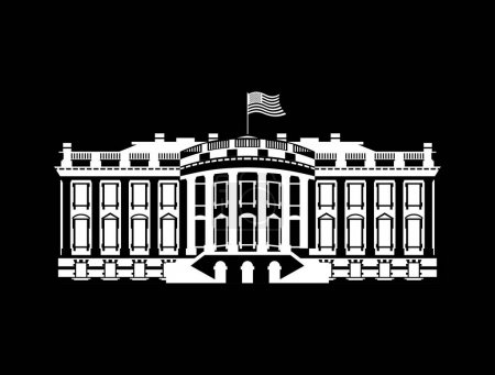 US White House sign icon. America government building. mansion P