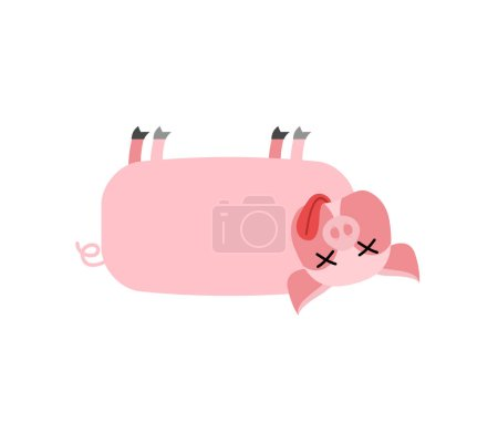 Illustration pour Cochon mort. L'animal de ferme est mort. Le cadavre du swin - image libre de droit