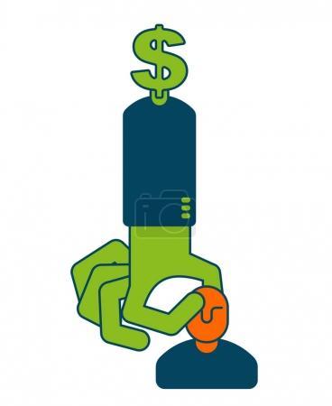 Illustration pour Icône investisseur. Un signe dollar. Patron de l'argent. choisit un employé. main prend gestionnaire. Choix du personnel. Concept d'entreprise symbole - image libre de droit