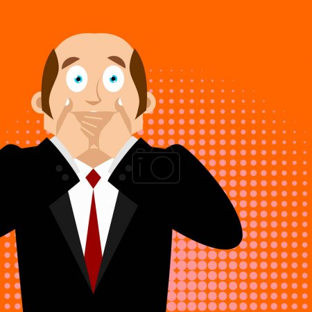 Illustration for OMG boss Facepalm Pop art . Oh my god businessman is frustrated. Disappointment manager. Illustration of frustratio - Royalty Free Image