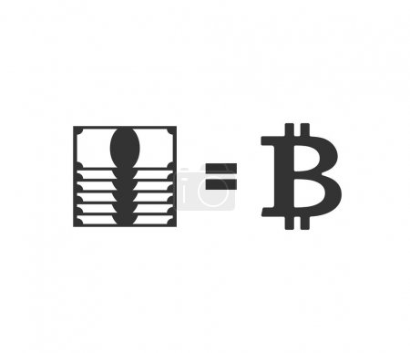Bitcoin and dollar exchange business icon. Cryptocurrency and mo