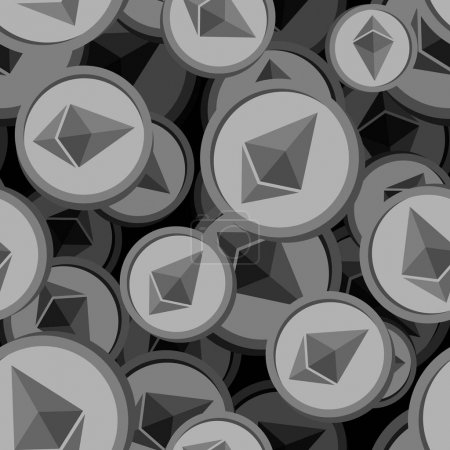 Etherium seamless pattern. Cryptocurrency background. Vector ill