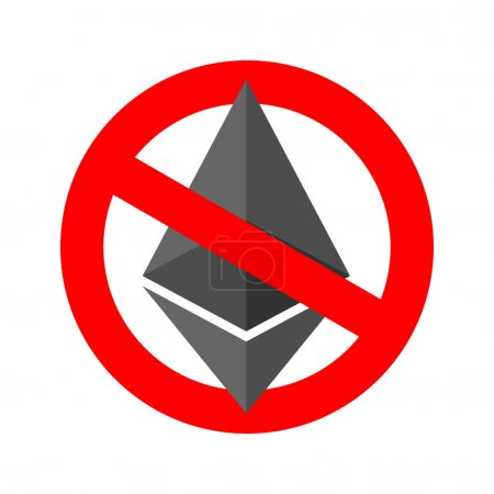 Stop etherium. It is forbidden Cryptocurrency. Red prohibitory s