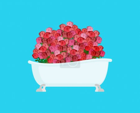 Roses in bath. Many flower. Vector illustration