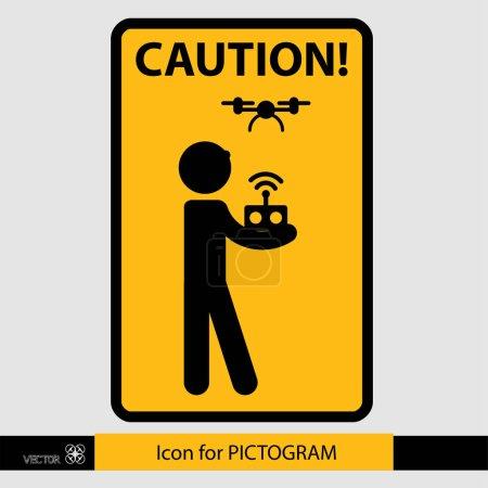 Sticker human figure, the control drone.