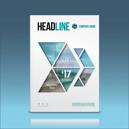 Illustration for Cover design, corporate brochure template, magazine and flyer layout. Geometric and polygonal objects. Vector illustration. - Royalty Free Image