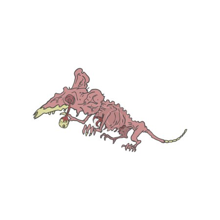 Rat Creepy Zombie Outlined Drawing