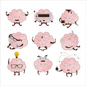 Brain Different Activities And Emotions Icon Set Comic Style Outlined Hand Drawn Emojis Isolated On White Background