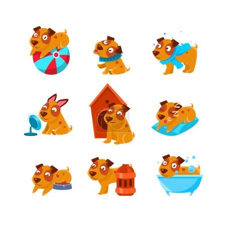 Illustration pour Chiot activités quotidiennes Ensemble de dessins idiots enfantins isolés sur fond blanc. Jeu d'autocollants vectoriels colorés animaux drôles . - image libre de droit