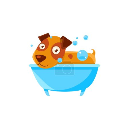 Puppy Taking A Bubble Bath In  Tub