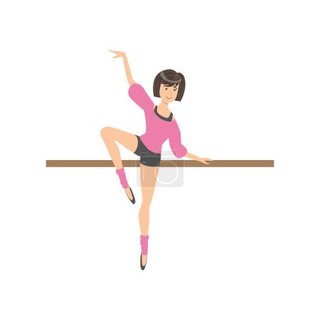 Girl Shorts And Pink Blouse In Ballet Dance Class Exercising With The Pole