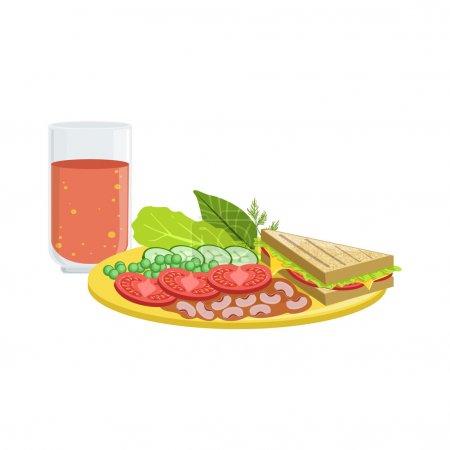 Photo pour Sandwich, légumes et jus de tomate Petit déjeuner Alimentation et boissons ensemble. Illustration de plaque de menu du matin dans un design vectoriel simple et détaillé . - image libre de droit
