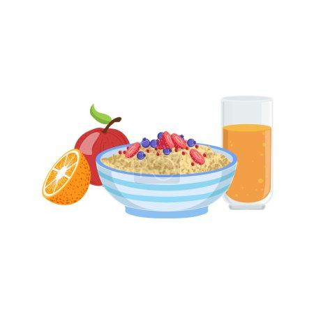 Photo pour Muesli, fruits et jus d'orange ensemble de nourriture et de boisson de petit déjeuner. Illustration de plaque de menu du matin dans un design vectoriel simple et détaillé . - image libre de droit