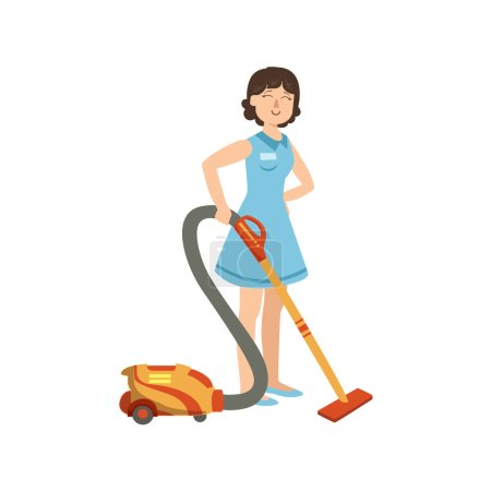 Illustration for Hotel Professional Maid Cleaning The Floor With Hoover Illustration. Cleaning Lady Tiding Up With Special Inventory Simple Flat Vector Drawing. - Royalty Free Image