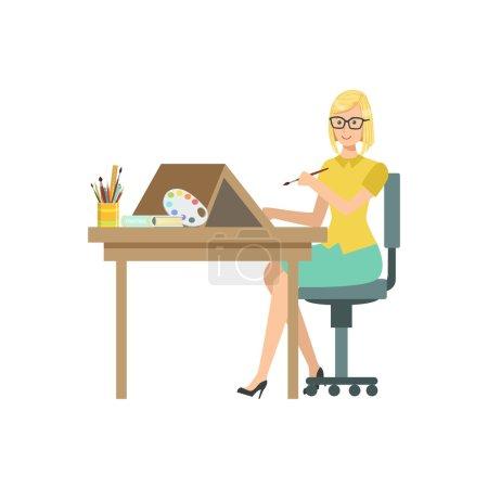 Illustrator With Paint Brush, Creative Person Illustration