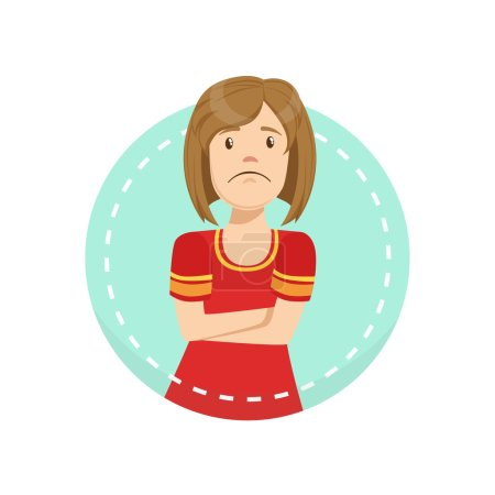 Illustration for Disagreement Emotion Body Language Illustration. Emotional Facial Expression And Gesture With Man In Red T-shirt In Blue Round Frame . - Royalty Free Image