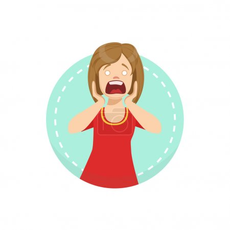 Illustration for Shocked Emotion Body Language Illustration. Emotional Facial Expression And Gesture With Man In Red T-shirt In Blue Round Frame . - Royalty Free Image