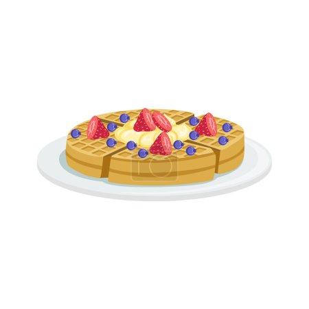 Illustration pour Belgique Gaufre Cuisine Européenne Menu Alimentaire Article Illustration détaillée. Café plat dans un dessin vectoriel de conception réaliste . - image libre de droit