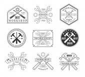 Wood Workshop Emblems Logo set