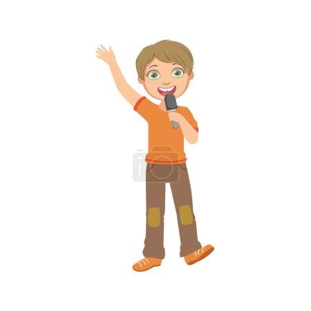 Boy In Orange T-shirt Singing In Karaoke