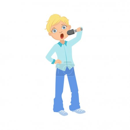 Boy In Blue Outfit Singing In Karaoke