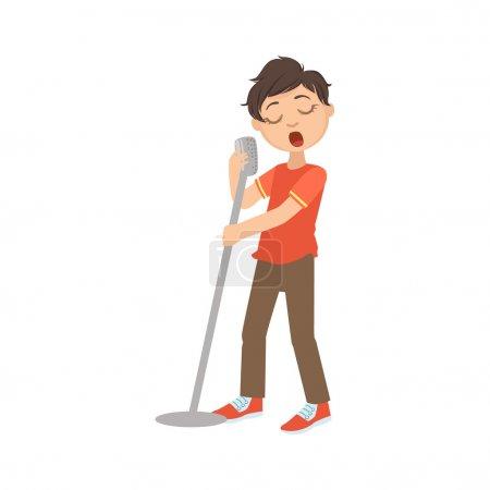 Boy In Red T-shirt Singing In Karaoke